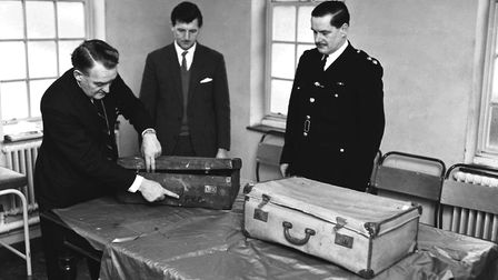 A photograph of the suitcases in which Bernard Oliver's dismembered body was found in 1967 Picture: