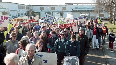 Protesters marching from the airport in 1997 Picture: ARCHANT