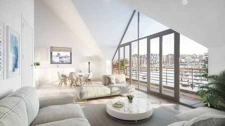Inside a Winerack apartment overlooking Ipswich waterfront and the university buildings Picture: TH
