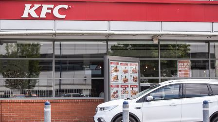 The KFC drive thru was packed with customers Picture: SARAH LUCY BROWN