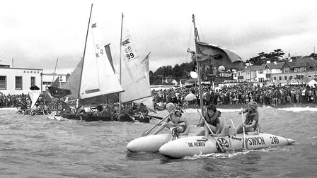 The raft race from the beach at Felixstowe in July 1979. Did you take part? Picture: ARCHANT