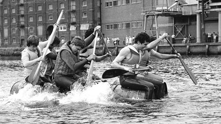 Rowing around Ipswich docks in 1982 Picture: ARCHANT