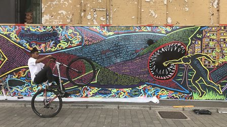 Evewright's Stop Loan Sharks Mural from last year's ArtEat festival Photo: Evewright