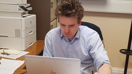 Ipswich MP Tom Hunt attending an online meeting with primary heads Picture: TOM HUNT
