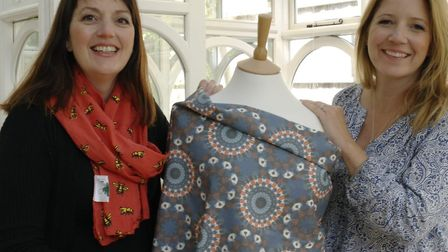 Jo Salter and Lucy Kerry of Where Does It Come From? with their African organic cotton fabric Pictur