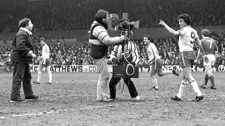 Filming for the film 'Fallen Hero' at Portman Road in March 1979 Picture: ARCHANT