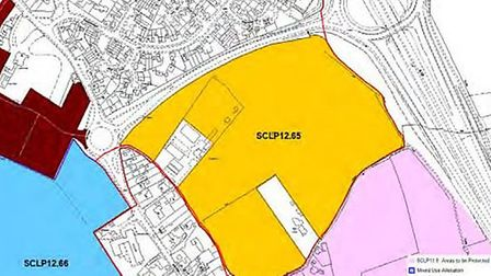 The land off Howlett Way, Trimley St Martin, where 340 new homes could be built Picture: EAST SUFFOL