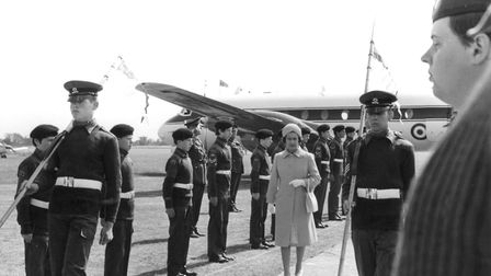 The Queen's arrival at Ipswich Airport on her Silver Jubilee visit on July 11, 1977 Picture: ARCHANT