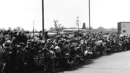 Crowds of well-wishers waiting to greet the Queen at Ipswich Airport on July 11,1977 Picture: ARCHAN