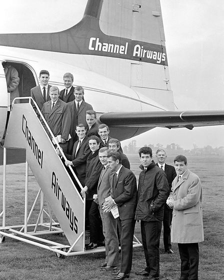 Members of the Ipswich Town team setting off from Ipswich Airport for a match with Plymouth in Octob
