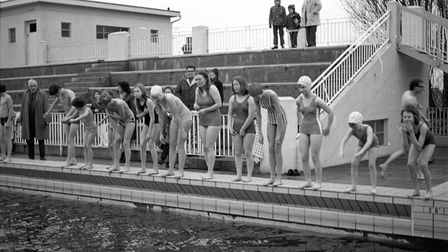 A Christmas swim at Broomhill pool in December 1972 Picture: ARCHANT