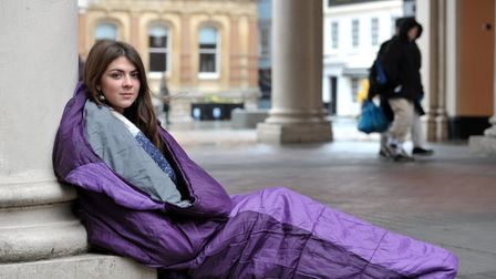 Lucy Buchholz slept rough in Ipswich to experience homelessness first hand Picture: SARAH LUCY BRO