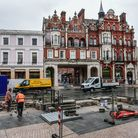 Work is underway on the Cornhill in Ipswich Picture:SARAHLUCYBROWN