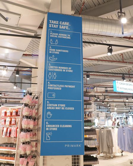 Signs in Primark stores will give instructions about safe shopping Picture: PRIMARK