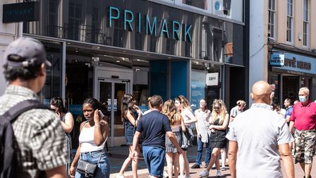 Shoppers queued to get into Primark from 7.30am on the day non-essential shops reopened in Ipswich P