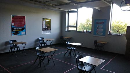 Desks in classrooms at Copleston have been spaced out, according to social distancing guidelines. Pi