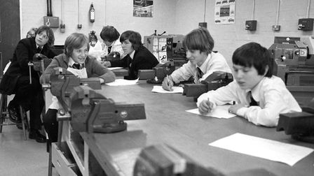 Boys at Stoke High School, Ipswich, at a metalwork lesson. Picture: JERRY TURNER