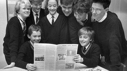 Who were these pupils who produced a school newspaper at Stoke High School, Ipswich, in November 198