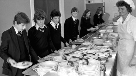 School dinners being served at Stoke High in 1980 Picture: ARCHANT