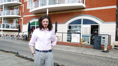 Kie Humphreys, owner of Coffee Cat on Ipswich Waterfront Picture: DAVID VINCENT