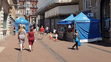Ipswich Market was busier on Tuesday. Picture: PAUL GEATER