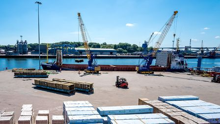 Timber discharge from General Cargo Ship Roseburg at ABP's Port of Ipswich, on June 15, 2020 Pictu