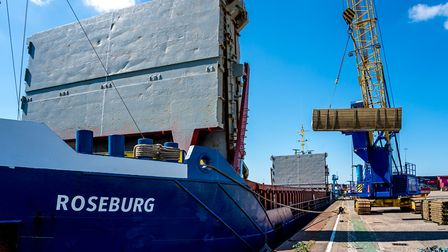 Timber discharge from General Cargo Ship Roseburg at ABP's Port of Ipswich, on June 15 PIcture: STE