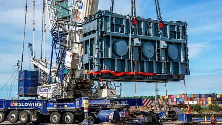 A 178 tonne transformer is lifted onto the docks at thePort of Ipswich Picture: STEPHEN WALLER/ABP
