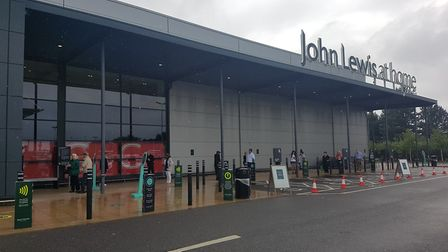 Customers outside the Ipswich branch of John Lewis Picture: WILL JEFFORD