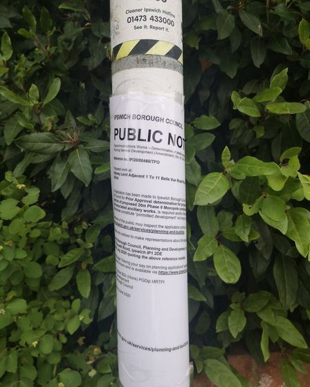 A proposal for a 20m high mast on the corner of Woodbridge Road and Belle Vue Road has been submitte
