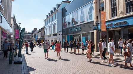 Westgate Street, Ipswich, shortly after non-essential shops reopened. Picture: SARAH LUCY BROWN