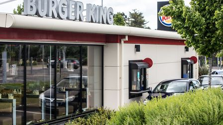 Queues of traffic at the Burger King Drive Thru in Ipswich during lockdown Picture: SARAH LUCY BRO