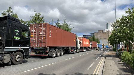Ipswich town centre is regularly snared with traffic when the Orwell Bridge has to close. Picture: S