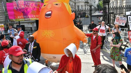 Protesters against Donald Trump in London on Friday 13 July. Photograph: PA/John Stillwell.