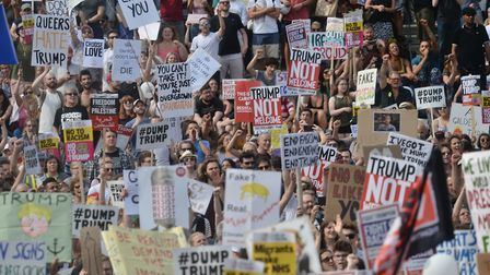 Protesters against Donald Trump in London on Friday 13 July. Photograph: PA/Victoria Jones.