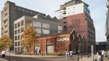 A CGI image of what the arts and media hub at the former Burton factory on Ipswich Waterfront could