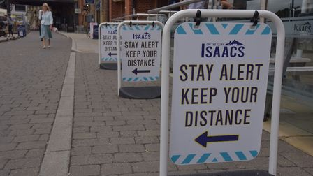 The message is clear outside Isaacs on Ipswich waterfront Picture: Sonya Duncan
