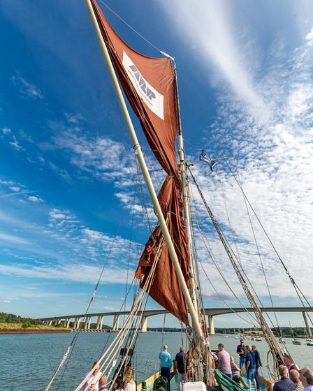Thames Sail Barge Victor looking out towards the Orwell Bridge at ABP's Port of Ipswich Picture: ST