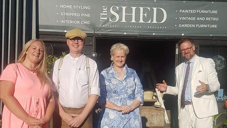 From left, Louise Smyth, Berty Newson and Lesley Austin of The Shed, with Charles Hanson Picture: T