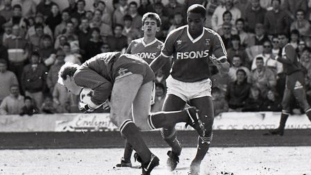 Dalian Atkinson in action for Ipswich v Middlesbrough in April 1988. Picture: ARCHANT