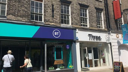 EE and Three have both reopened in Ipswich town centre, after months of closure due to Covid-19. Pic