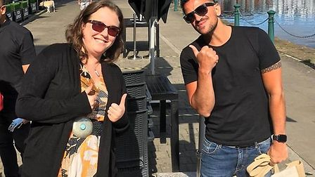 Peter Andre took pictures with fans on Ipswich Waterfront Picture: RICHARD MALONE