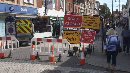 Barriers prevent traffic entering Hamilton Road at Cobbold Road to protect shoppers Picture: RICHARD