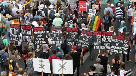 Protesters against Donald Trump in London on Friday 13 July. Photograph: PA/Yui Mok