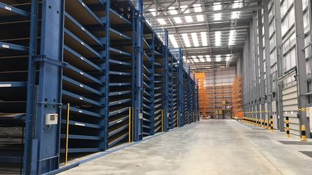 The sortation system and loadin bay at Headlam Group's new centre in Harris Way, Ipswich Picture: H