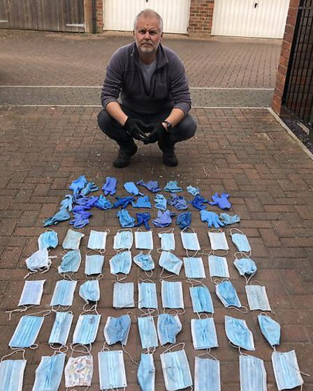 The PPE picked up off the streets of Ipswich by environmental campaigner Jason Alexander. Picture: J