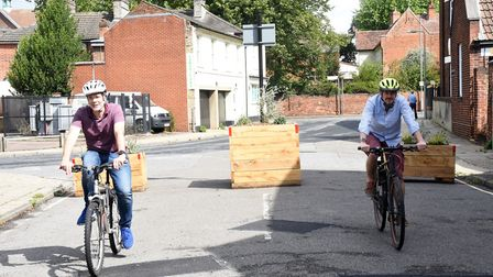 New cycle barriers have been placed around Ipswich. Councillor Paul West and Head of Transport Strat