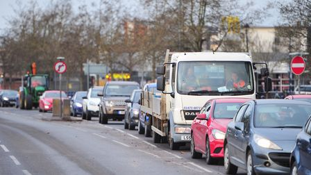 Traffic on Grafton Way, Ipswich - people working from home will avoid the queues Picture: SARAH LUCY