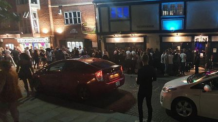 """A crowd of """"at least 100"""" people were seen queueing up outside Sin in Ipswich. Picture: HARRY GRIFFI"""