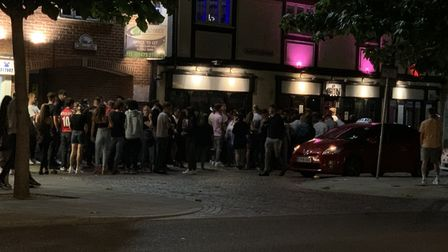"""A crowd of """"at least 100"""" people were seen queueing up outside Sin in Ipswich. Picture: Stuart Wadsw"""